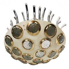 Moderne Italian Light Fixture with Glass Insets