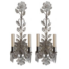 Pair of Silver Plated Sconces with Molded Leaves