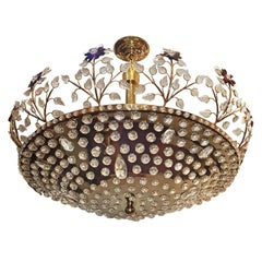 Large Gilt Fixture with Amethyst Crystal Flowers