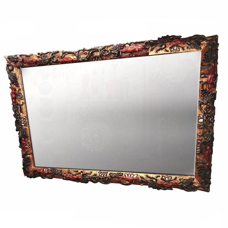 Large Italian Gilt and Polychromed Mirror