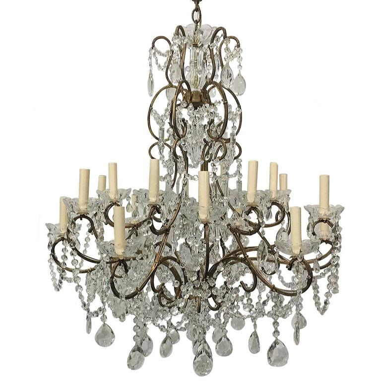 Large Italian Crystal Chandelier For Sale