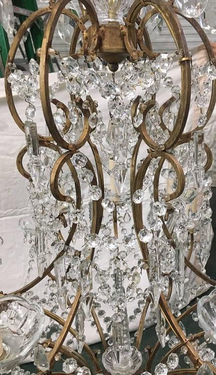 Large Italian Crystal Chandelier In Good Condition For Sale In New York, NY