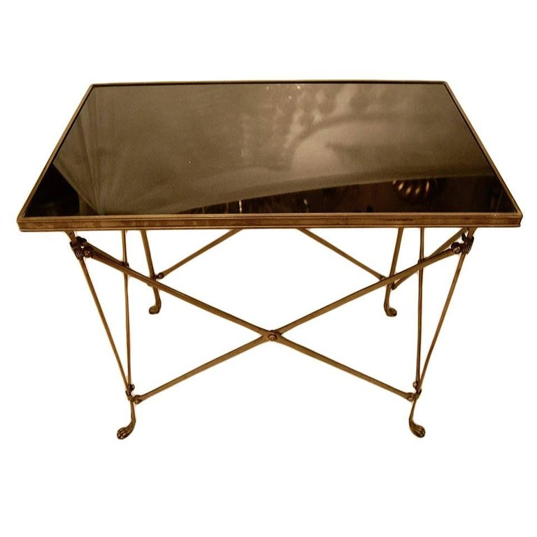 Campaign Style Black Marble Side Table