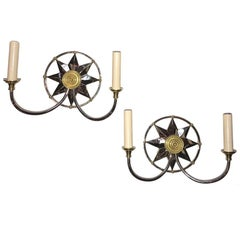 Pair of French Deco Star Sconces