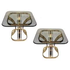 Pair of Moderne Gilt Side Tables