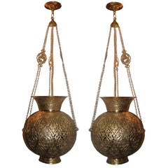 Pair of Hammered and Pierced Arabesque Lanterns
