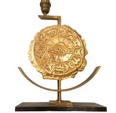 Single Bronze Zodiac Table Lamp