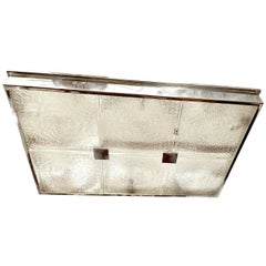 Large Nickel-Plated and Molded Glass Light Fixture