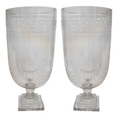 Pair of Anglo-Indian Etched Hurricane Candleholders