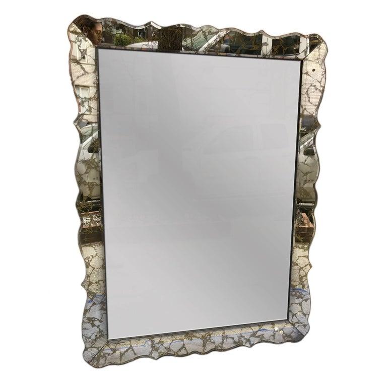Large French Serpentine Mirror