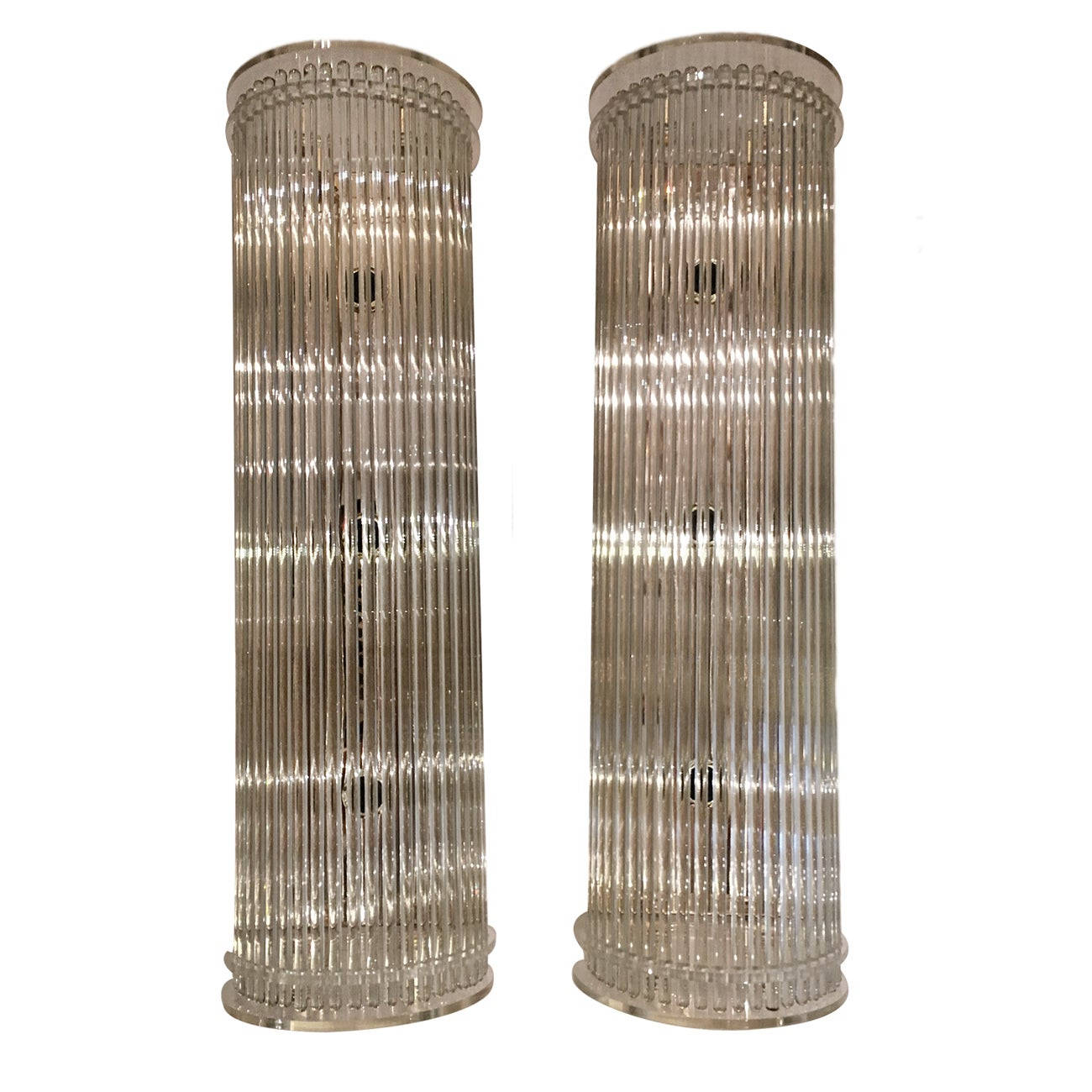 Pair of Moderne Glass Rods Sconces
