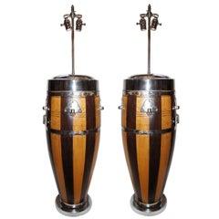 Pair of Large Vintage Drum Lamps