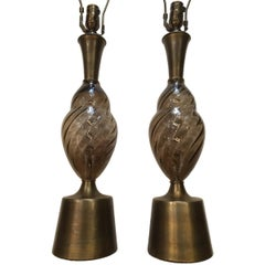 Pair of Murano Smoke Color Glass Lamps