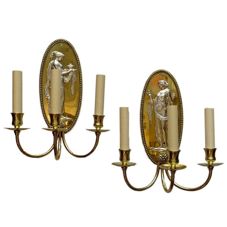 Pair of Bronze and Silver Plated Neoclassic Sconces
