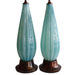 Pair of Light Blue Venetian Glass Lamps