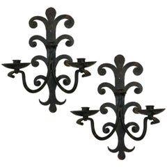 Pair of Wrought Iron Sconces