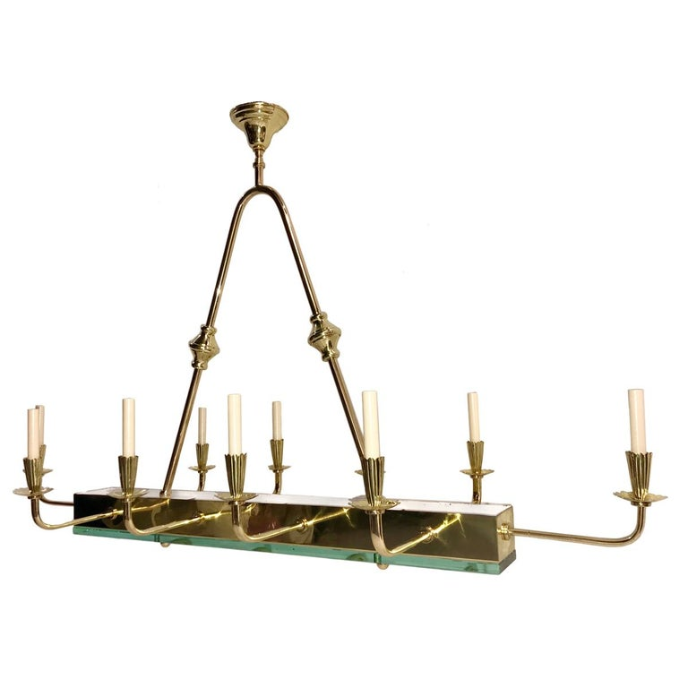 French Moderne Horizontal Chandelier