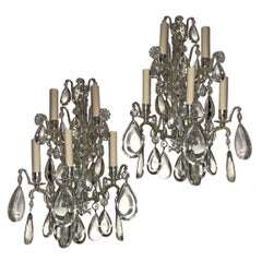 Set of Bronze Sconces with Crystal Drops