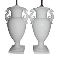 Neoclassic Style White Porcelain Table Lamps