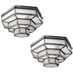 Pair of Nickel-Plated Fixtures with Milk Glass