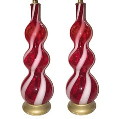 Pair of Red and White Murano Glass Lamps
