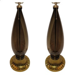 Pair of Smoke Murano Glass Table Lamps