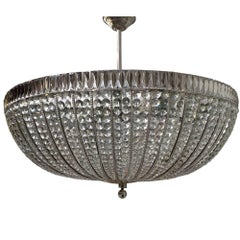 Large French Crystal Semi Flush Light Fixture