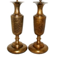 Pair of Etched Brass Table Lamps