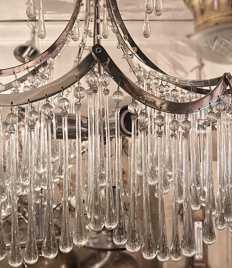 Pair of Glass Pendant Light Fixtures For Sale 5