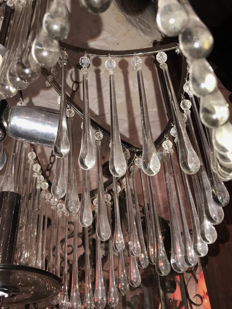 Pair of Glass Pendant Light Fixtures For Sale 7