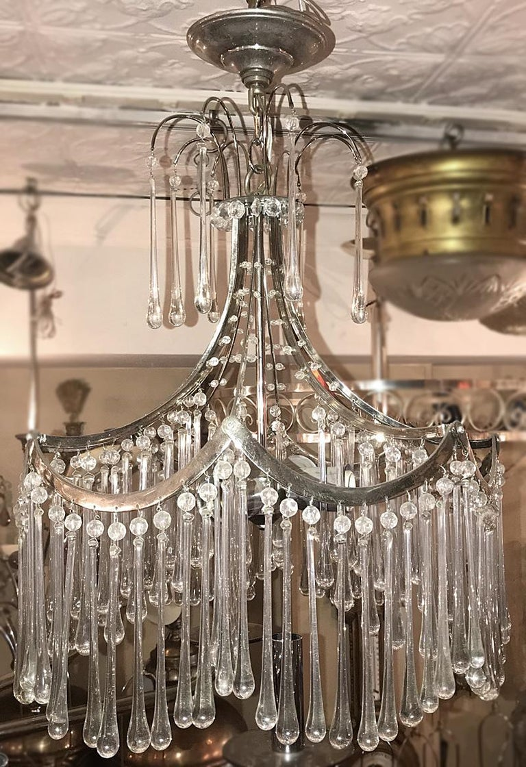 Pair of Glass Pendant Light Fixtures For Sale 3