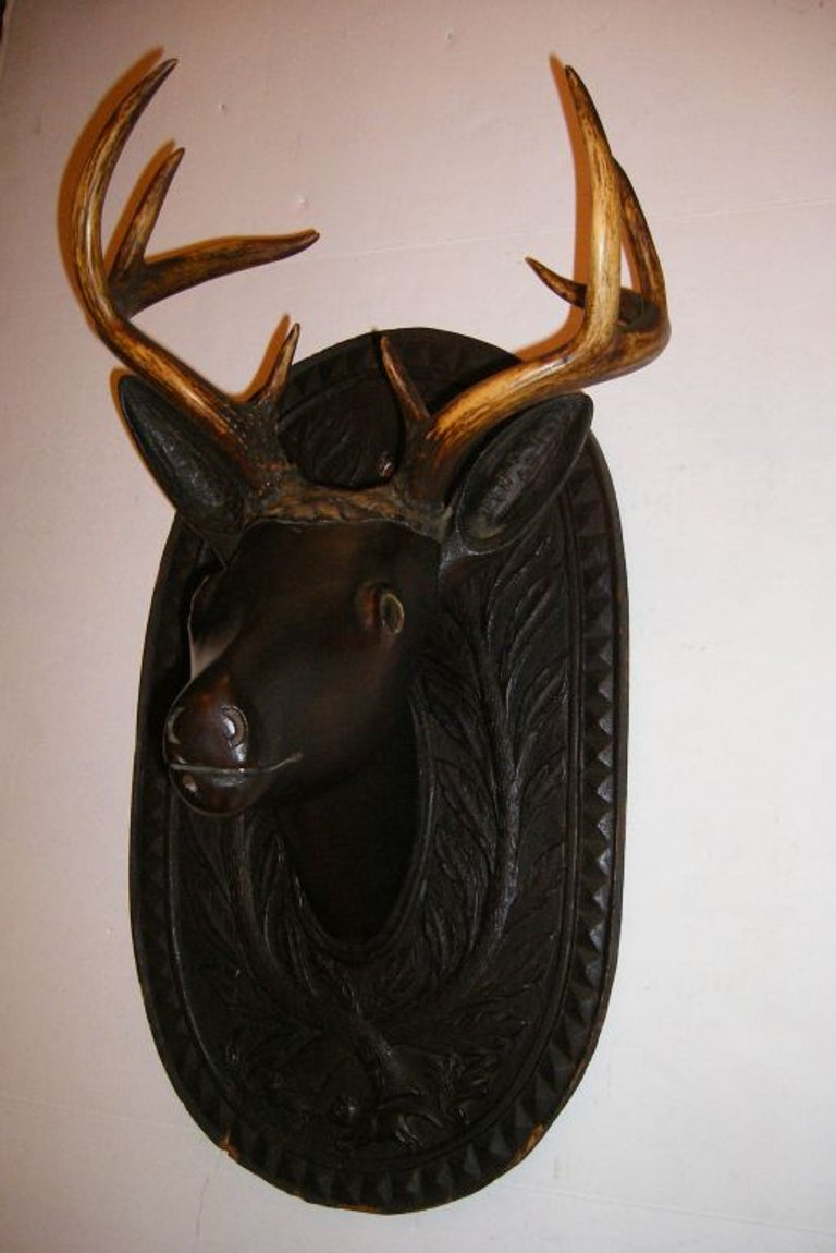 Antique Carved Wood Deer Head In Good Condition For Sale In New York, NY