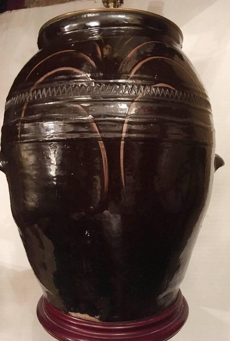 Pair of Large Ceramic Jug Lamps For Sale 1
