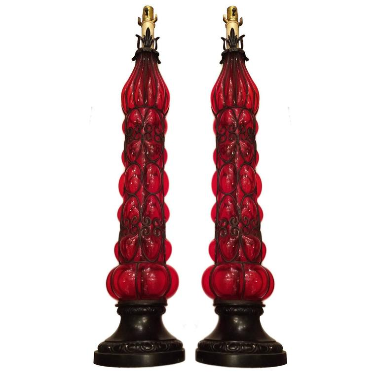 pair of tall red blown glass table lamps for sale at 1stdibs. Black Bedroom Furniture Sets. Home Design Ideas