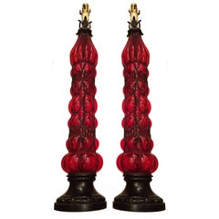 Pair of Tall Red Blown Glass Table Lamps