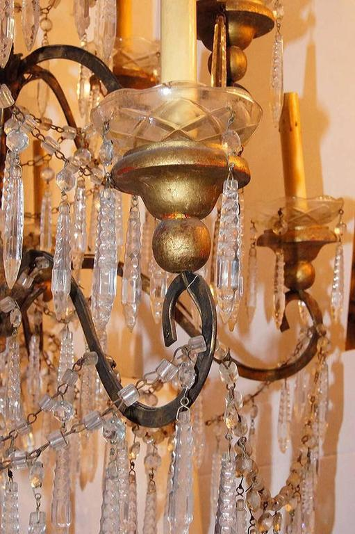 Gilt Metal Chandelier In Excellent Condition For Sale In New York, NY