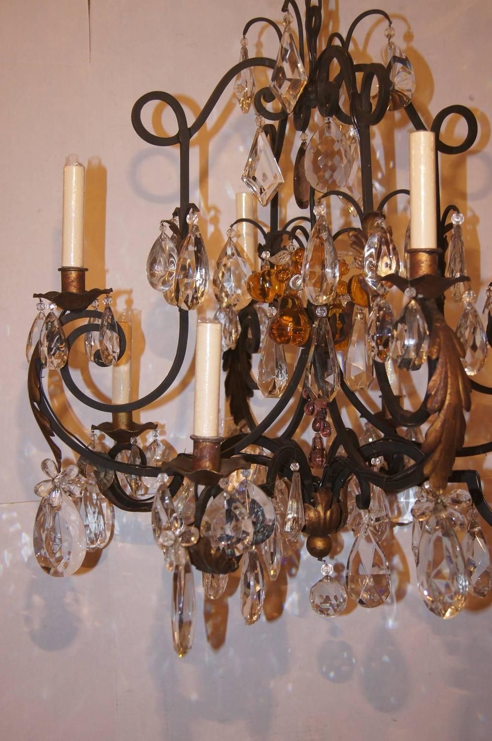 Wrought Iron And Crystals Chandelier For Sale At 1stdibs