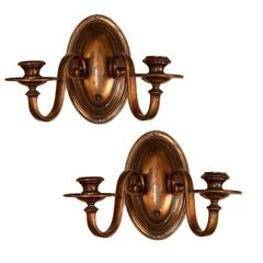 Pair of Antique Neoclassic Copper Sconces
