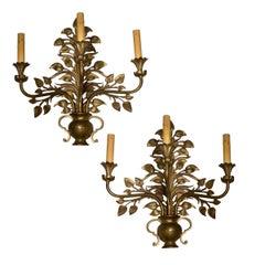 Floral Gilt Bronze Sconces
