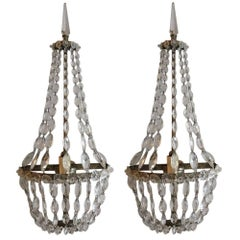 Pair of Silver Crystal Sconces