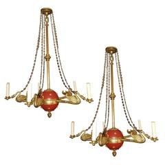 Set of Four Empire-Style Chandeliers