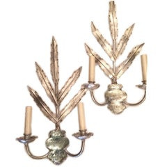 Silver Plated Sconces with Molded Glass Body