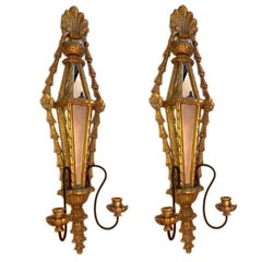 Set of Giltwood Sconces with Mirror Insets