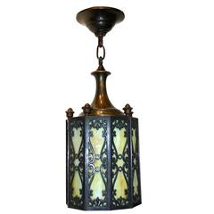 Bronze and Leaded Glass Lantern
