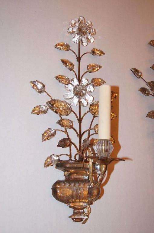 Set of Gilt Metal Floral Sconces For Sale at 1stdibs