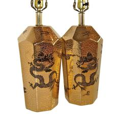 Pair of Gold Dragon Motif Lamps