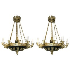 Pair of Large Empire Chandeliers