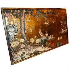Large Lacquered Decorative Panel with Nature Motif