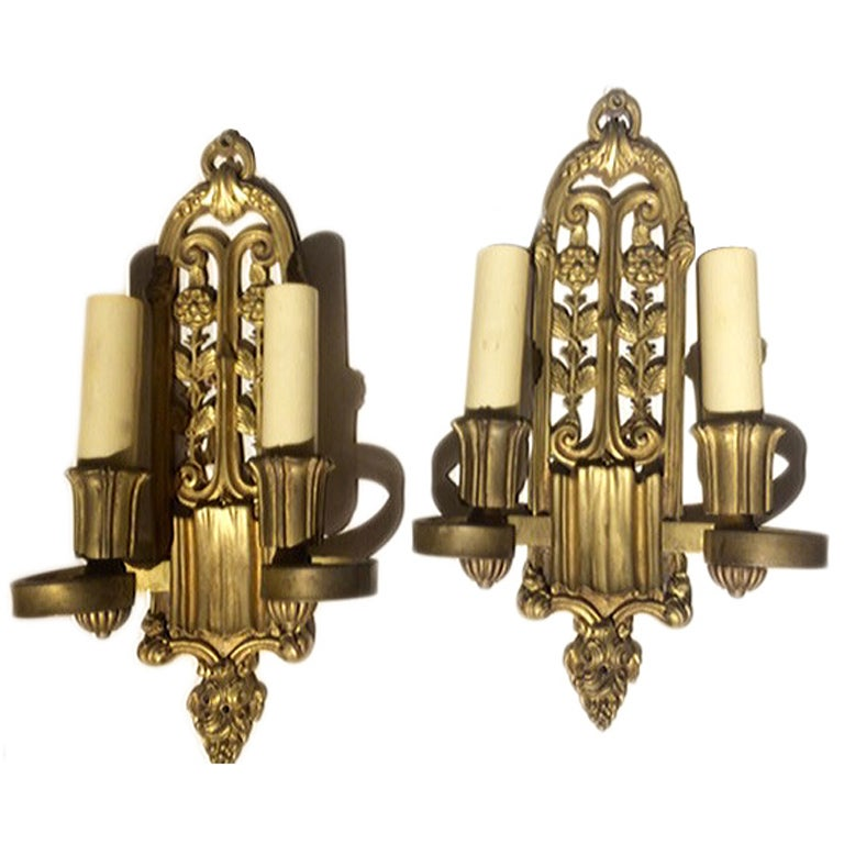 Pair of Bronze Sconces
