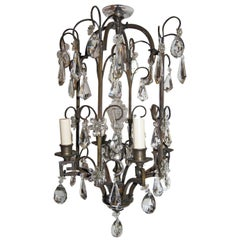 Patinated Bronze Lantern with Crystals